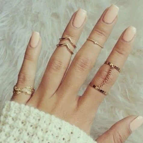 Fashion Hot New Double Chain Ring Zircon Small Ring Pointed Leaf Joint Ring 6 Sets Of Personality Hundred Matching Accessories