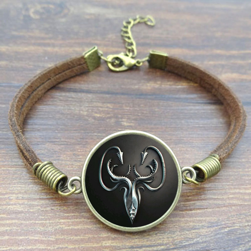 Bracelets & Bangles Glass Cabochon Game of Thrones House Greyjoy Art Picture Vintage Jewelry Brown Rope Bracelet DIY
