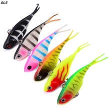 6.8cm long tail soft lead fish fishing lures  Artificial tackle with bass hook