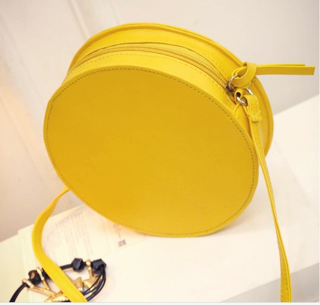 2017 New Arrival Shoulder Dual Purpose Mini Bags Ladies Round Lemon Pattern Zipper Crossbody Women Messenger Bags Satchel Purse