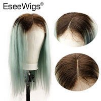 Eseewigs 4TGreen Ombre Color Silky Straight Long Human Hair Wigs For Women Lace Front Wig Brazilian Remy Hair Mint Green