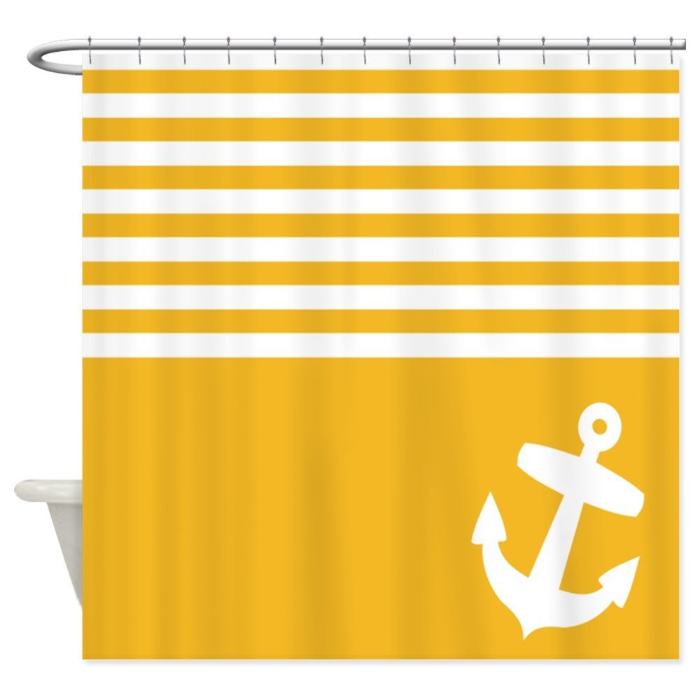 Warm Tour Yellow striped anchor Shower Curtain Fabric Polyester Waterproof Bathroom Curtains