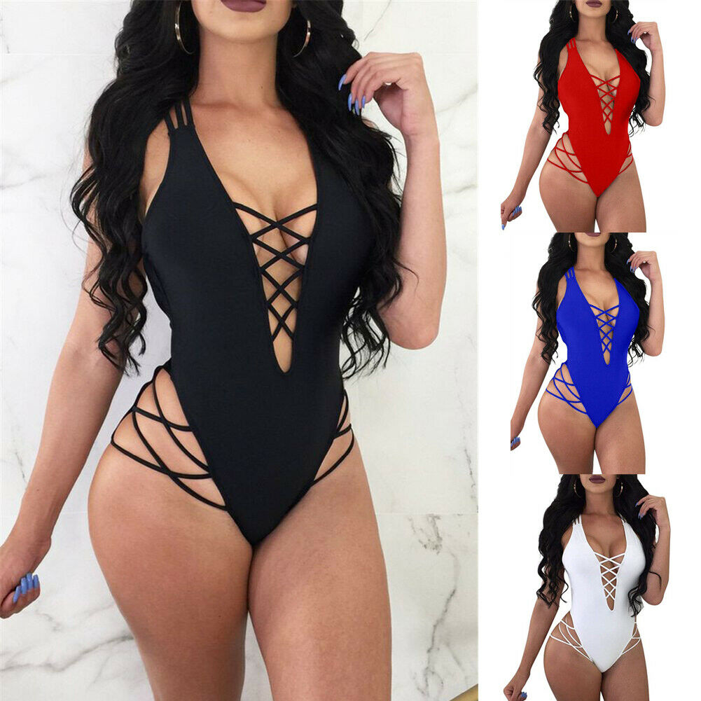 Women Swimwear Solid One Piece Suits Sexy High Cut One Piece Swimsuit Cross Strap Bodysuits Bathing Suit Female Monokini in Body Suits from Sports Entertainment