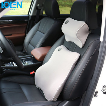 LOEN 1 Set Of Memory Seat Cushion Foam Lumbar Supports Back With Neck Pillow For Toyota 0 Honda Hyundai Buick NISSAN