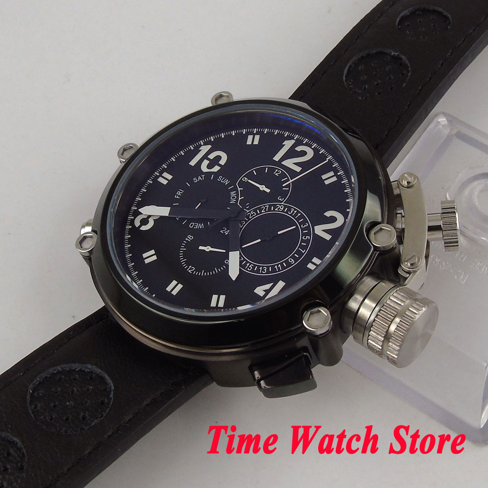 Parnis 시계 특별 50mm pvd 케이스 블랙 다이얼 날짜 주 표시 다기능 자동 운동 손목 시계 남자 1199-에서기계식 시계부터 시계 의  그룹 3
