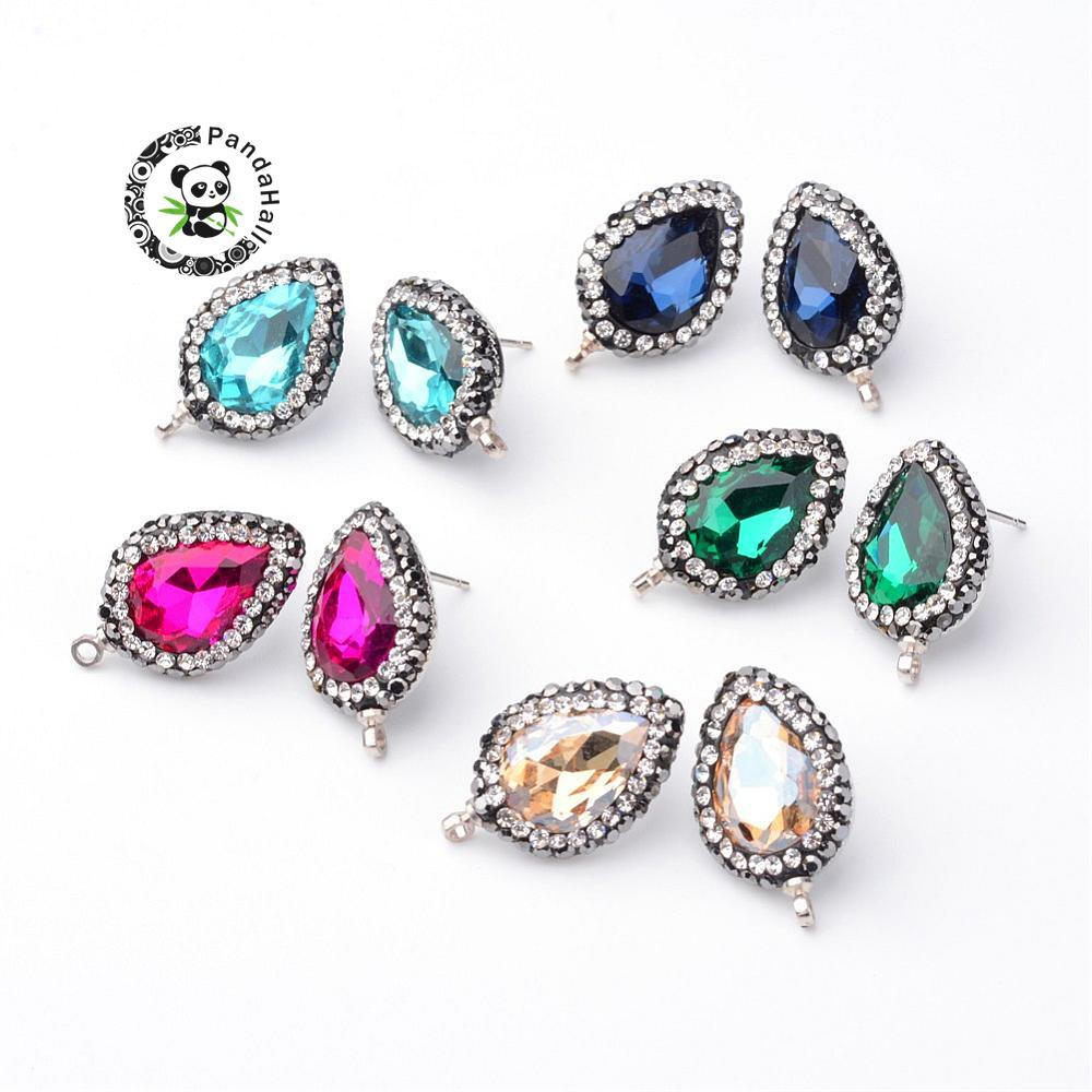 Brass Ear Stud Components, with Glass and Rhinestone, Drop, Mixed Color, 23x14.5x5mm, Hole: 1.5mm; Pin: 0.8mm