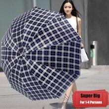 Super Huge Big Large Folding Men Women Business Rainy Sunny Plaid Pattern Umbrella Fashion Parasol Quality Outdoor Windproof 10K