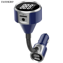 YASOKRO Wireless FM Transmitter Car Handsfree Bluetooth MP3 Player Dual USB Car Charger Support TF Card/U Disk Music Play