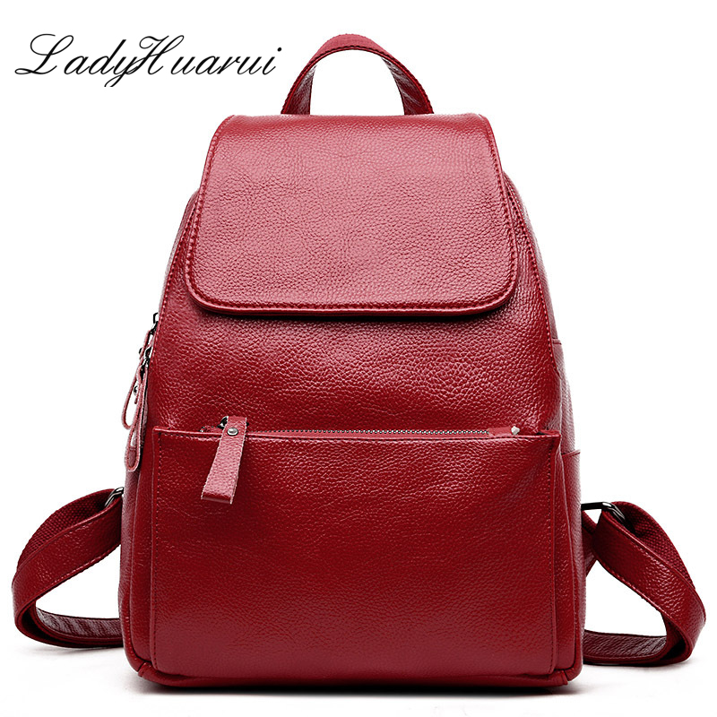 For teenage girls Preppy Style Travel School Bag Women Soft Genuine Leather Ladies Backpack high quality shoulder bags backpacks go meetting fashion genuine leather backpack women bag preppy style girls school bags top layer cowhide leather travel backpacks