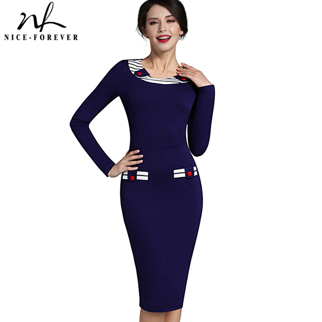 Nice-forever Vintage Button Navy Fitted Dress European Stylish Women Office Formal Business Plus Size Elegant Bodycon Dress b214