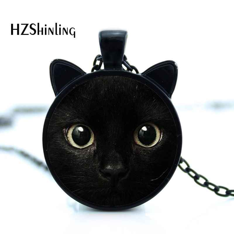 2017 painting black cat  Necklace for pet lovers Cat Pendant with two ears  Jewelry Glass Cabochon girl's Gift for her HZ2