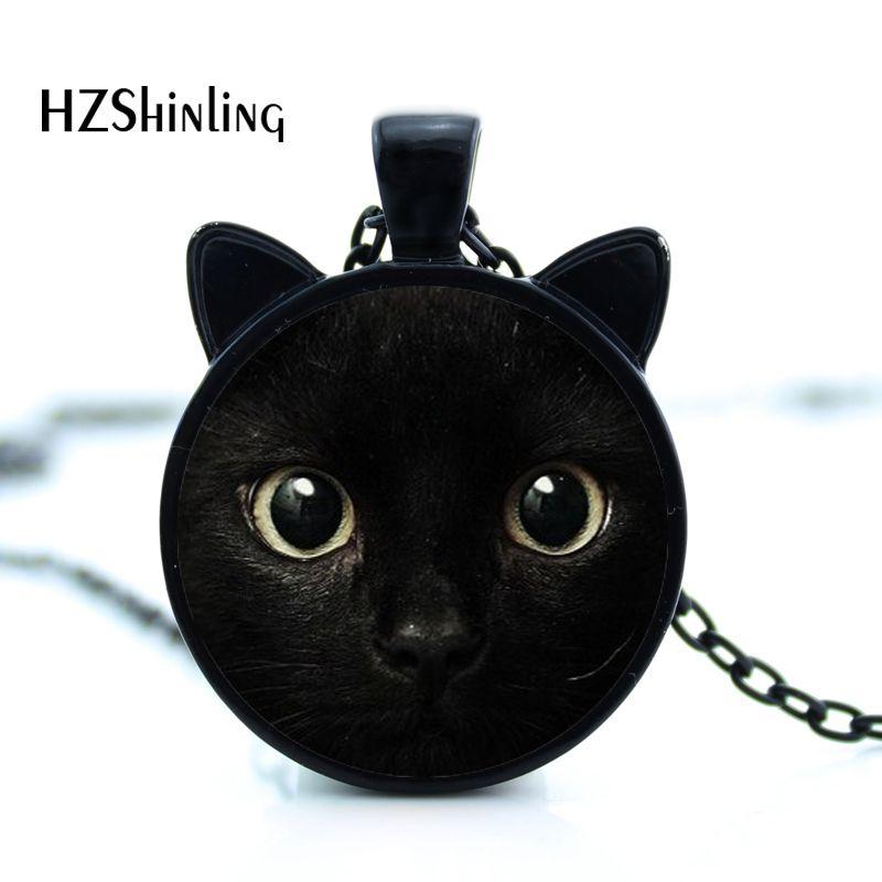 2017 lukisan kucing hitam Kalung untuk pecinta hewan peliharaan Kucing Liontin dengan dua telinga Perhiasan Kaca Cabochon gadis Hadiah untuknya HZ2