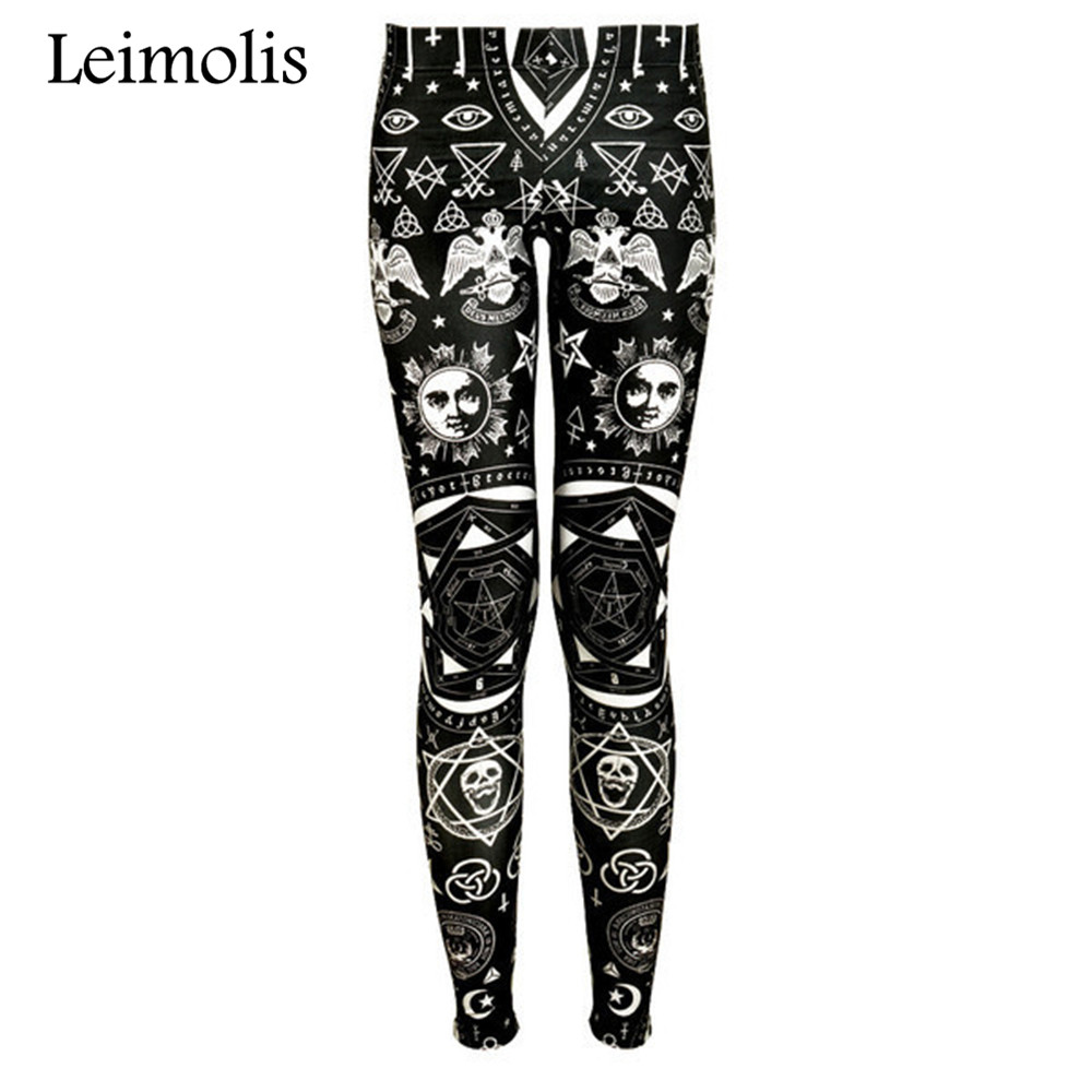 Leimolis High Waist Punk Rock Harajuku Workout Push Up Fitness Sexy 3d Print Dark Gothic Women Leggings Plus Size Pants