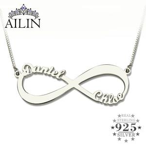 Image 1 - AILIN Personalisierte Unendlichkeit Halskette Custom Name Halskette Frauen 925 Sterling Silber Arabisch Kette Anhänger Schmuck Weihnachten Geschenk