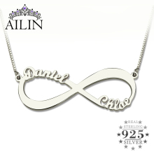 цена Personalized Infinity Necklace Two Name Necklace Silver Infinity Name Necklace Love Has No End Love Jewelry онлайн в 2017 году