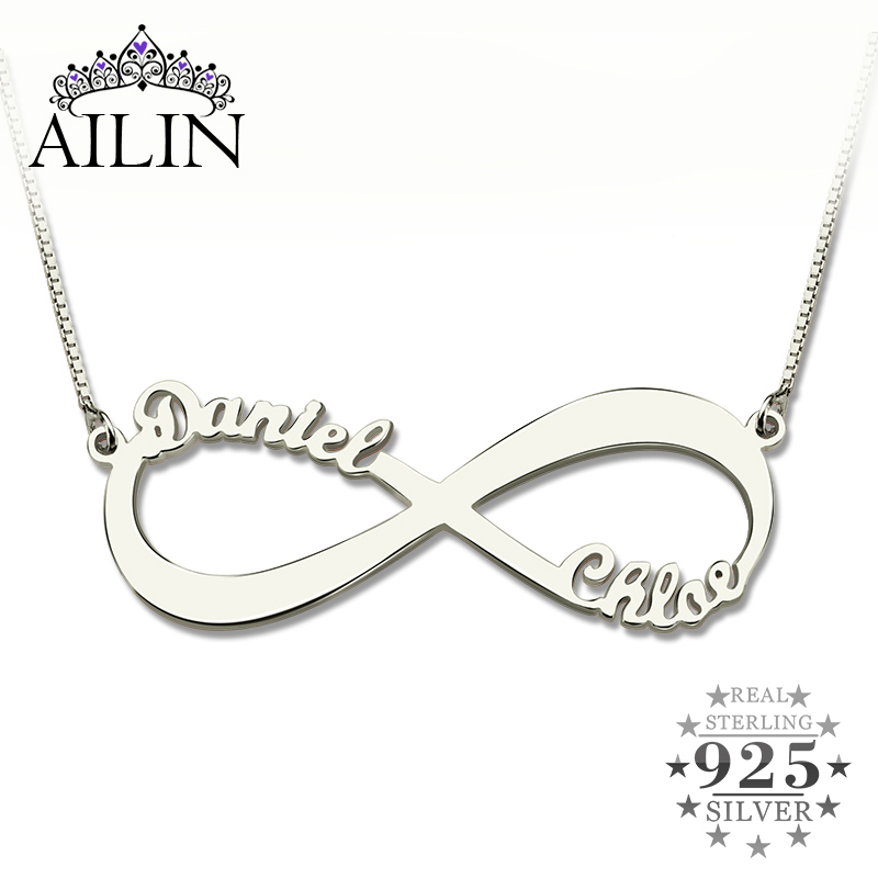 AILIN Personalized Infinity Necklace Two Name Necklace Silver Infinity Name Necklace Love Has No End Love Jewelry Christmas Gift недорго, оригинальная цена