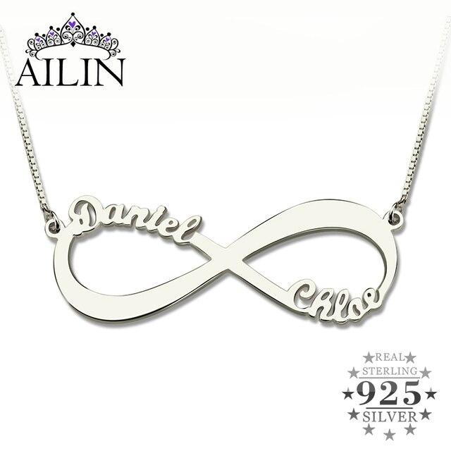 9c82c21520b6 AILIN personalizado infinito collar dos nombres collar plata infinito nombre  collar amor No tiene fin joyería