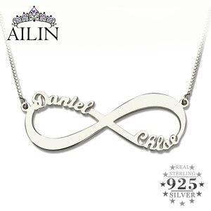 Image 1 - AILIN spersonalizowany naszyjnik nieskończoności nazwa własna naszyjnik kobiety 925 srebro arabski łańcuszek naszyjnik świąteczny prezent