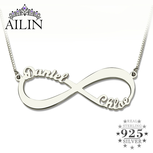 AILIN spersonalizowany naszyjnik nieskończoności nazwa własna naszyjnik kobiety 925 srebro arabski łańcuszek naszyjnik świąteczny prezent