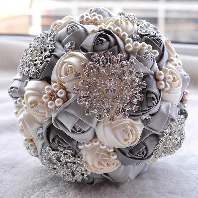 ที่ดีที่สุดราคาสีขาวงาช้างเข็มกลัด Bouquet Wedding Bouquet de mariage งานแต่งงานช่อดอกไม้เพิร์ล buque de noiva