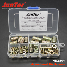 50pcs M4 M5 M6 M8 M10 Zinc Alloy Furniture Hex Drive Head Nut Threaded For Wood Insert Metric Assortment Kit NO.E007