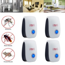 4 PCS Electronic Pest Repeller Ultrasonic Anti Mosquito trap Insect Repeller Mouse Cockroach Pest Reject Repellent EU/US Plug