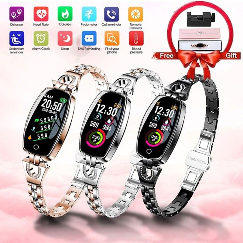 Women Girl Crystal Luxury Smart Watch Pedometer Sport SmartWatch Bracelet Heart Rate Monitor Waterproof Watches For