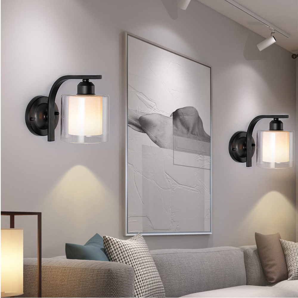 Classic Minimalist LED Wall Lamps Nordic Glass Wall Lights Fixtures Iron for Bedroom Bedside Lamp Wall