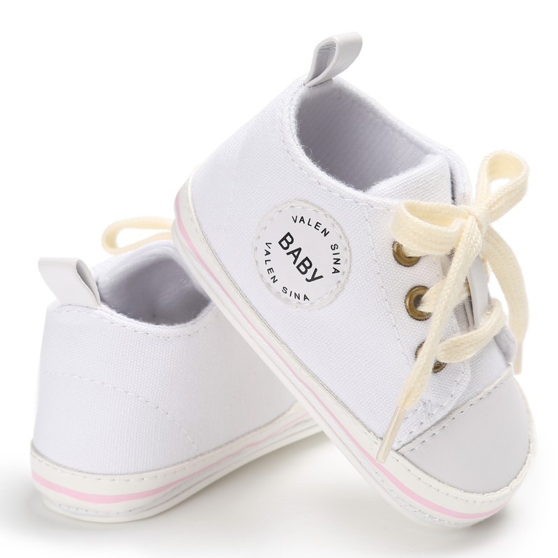 Newborn Baby Shoes 2018 Infant first walkers Tollder Canvas Shoes Lace-up Baby Girls Sneaker Prewalker 0-18M стоимость