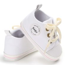 Newborn Baby Shoes 2018 Infant first walkers Tollder Canvas Shoes Lace-up Baby Girls Sneaker Prewalker 0-18M(China)