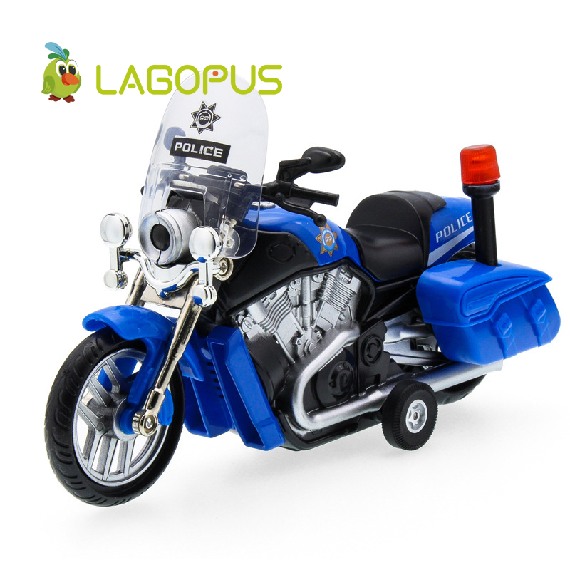 lagopus Police Motorcycles Zinc Alloy Mini Model Car Sound&light Pull Back Boys Playing Toys Vehicles Gift for Children