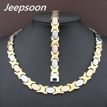 Hot Sell Wholesale Newest Fashion Stainless Steel Metal Silver and gold color Necklace And Bracelet Jewelry Set SFKGCEEI