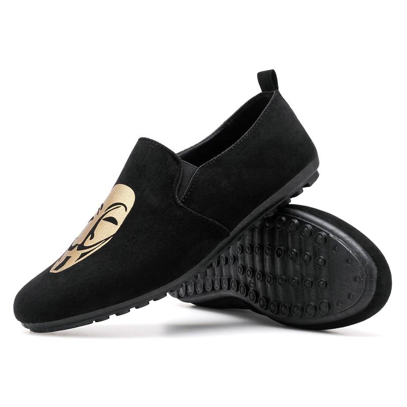 Fine Zero 2018 Men spring summer flock human face Slip on Dress Business Shoe Male Soft Moccasins Loafers jean Driving Flats