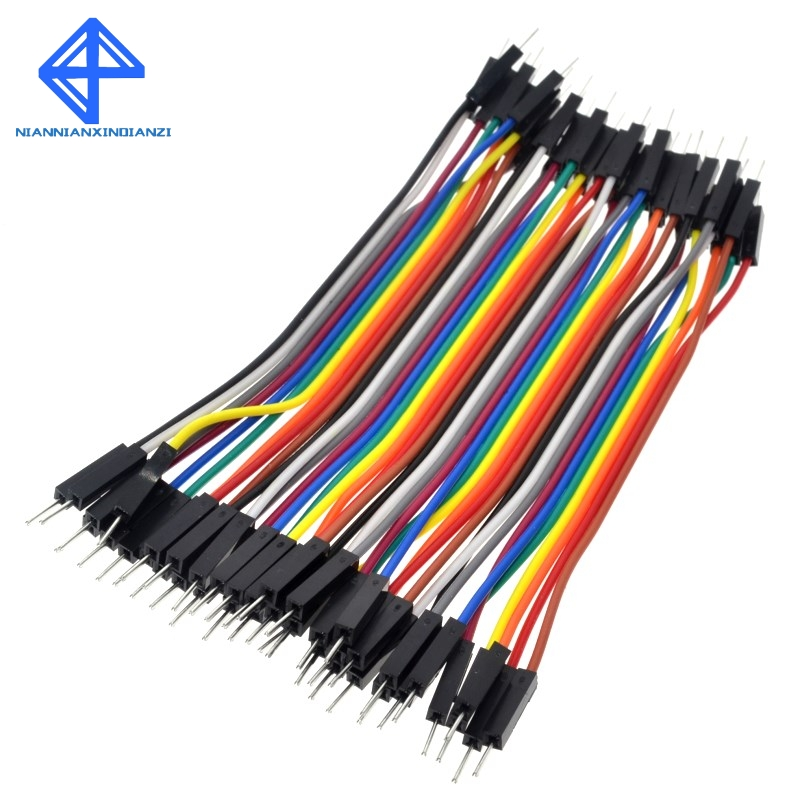 40 x 10 cm breadboard jumpers Plug Male to Male Jumper Wires Cables DT