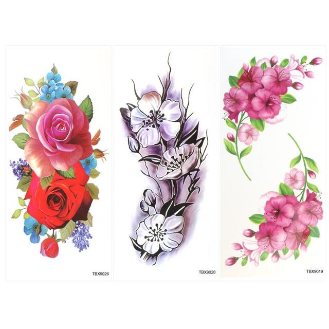 5b4eafc2a 9 Sheets Temporary Tattoo Rose Peony Flower Butterfly Lotus Cherry Blossoms  Flash Tattoo For Man Woman