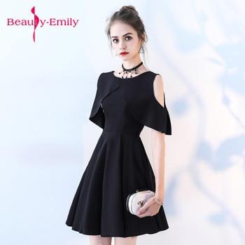 Short Evening Dress 2018 Graduation O-neck Black evening gowns  A-line Formal Dress Homecoming Dresses Robe De Soiree