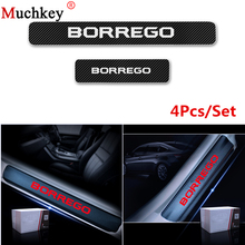 Car Door Sill Guard Carbon Fiber Vinyl Sticker For Kia BORREGO Threshold Plate Decoration Stickers 4Pcs