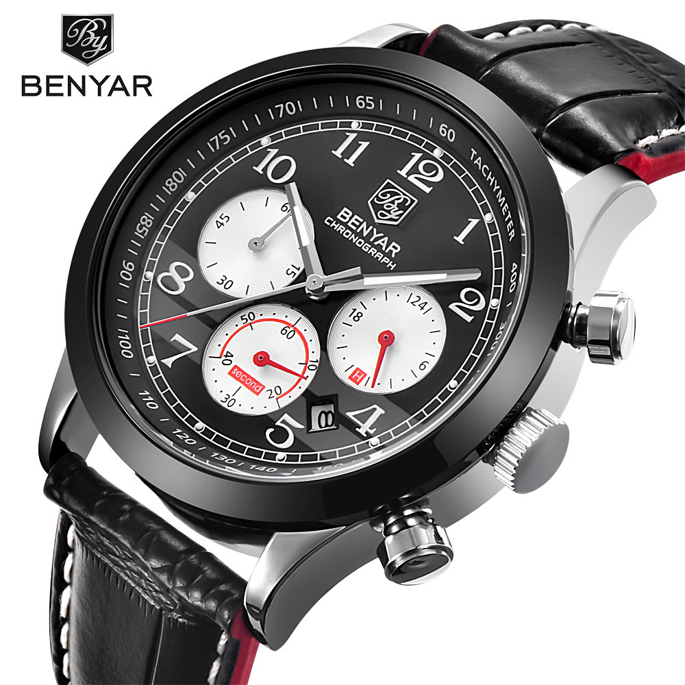 BENYAR Sport Chronograph Quartz Watch Men Casual Mens Watches Top Brand Luxury Male Clock Leather Wristwatches erkek kol saati yazole new mens watches gold skeleton men quartz watch luminous wristwatches male clock wrist watch quartz watch erkek kol saati