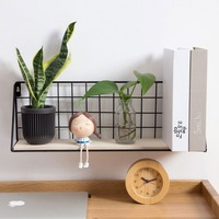 Wooden Iron Wall Shelf Wall Mounted Storage Rack Organization For Kitchen Bedroom Home Decor Kid Room DIY Wall Decoration Holder