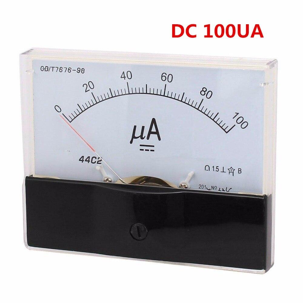 DC 50UA 100UA 200UA 300UA 500UA Analog Ammeter Panel AMP Current Meter 44C2 Gauge dc analog meter panel 15v current voltage ammeters 85c1 0 15v gauge