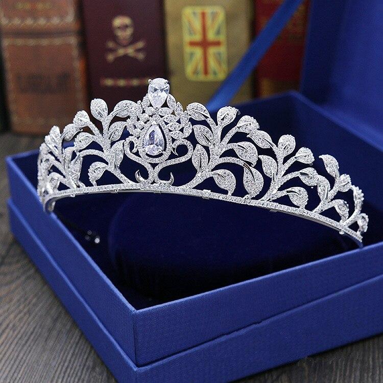 Большой полный Циркон тиара Медь Циркон диадемы Micro Pave CZ невесты Корона Свадебные украшения для волос диадема Mariage Bijoux Coroa WIGO1037