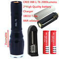 Promotion CREE XM-L T6 2000 LM High Power Torch Zoomable LED Flashlight Torch light (3xAAA or 1x18650) + 2 * Battery + Charger