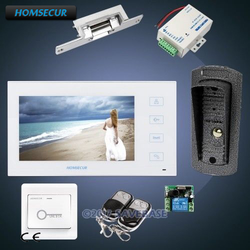 """HOMSECUR Hand-fee 7"""" Wired Video&Audio Home Intercom+Electric Strike Lock Set Included 1C1M"""
