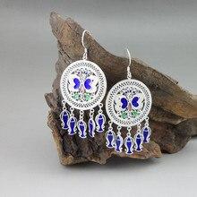 Round Blue 999 Sterling Silver Butterfly Earrings For Women Bohemian Cloisonne Enamel Jewelry Luxury Fish Dangle Tassel