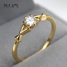 PULATU 10 Style Classic Ring Gold Color Sparkling AAA CZ Crystal Studded Finger Rings for Women Wedding Jewelry JZ0508