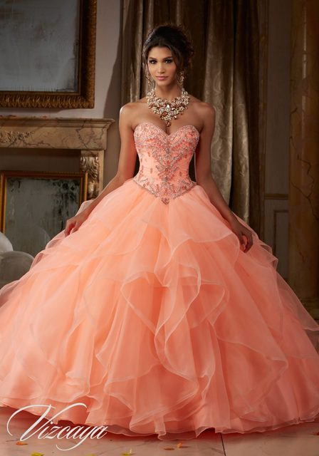 2017 Coral Mint Quinceanera Dresses Ball Gown Organza With Jacket Beaded  Cheap Sweet 16 Dresses Vestidos de 15 Anos Q45 49255513930e