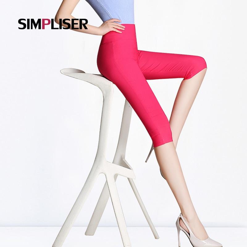 SIMPLISER Legging Femme 2018 Summer Candy Color   Capri     Pants   Black White Female Stretch Pencil   Pants   Calf Length Female Trousers