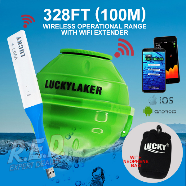 FF-916_EXT LUCKY Wireless WIFI Fish Finder 45M Depth Range Rechargeable Battery Fish Detect Android iOS with Wifi Extender эхолот lucky ff 916 wi fi