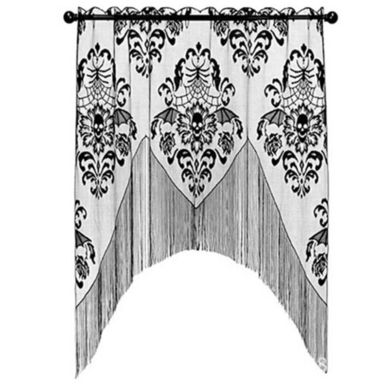 Halloween Black Skull Lace Curtains For Kitchen Sheer