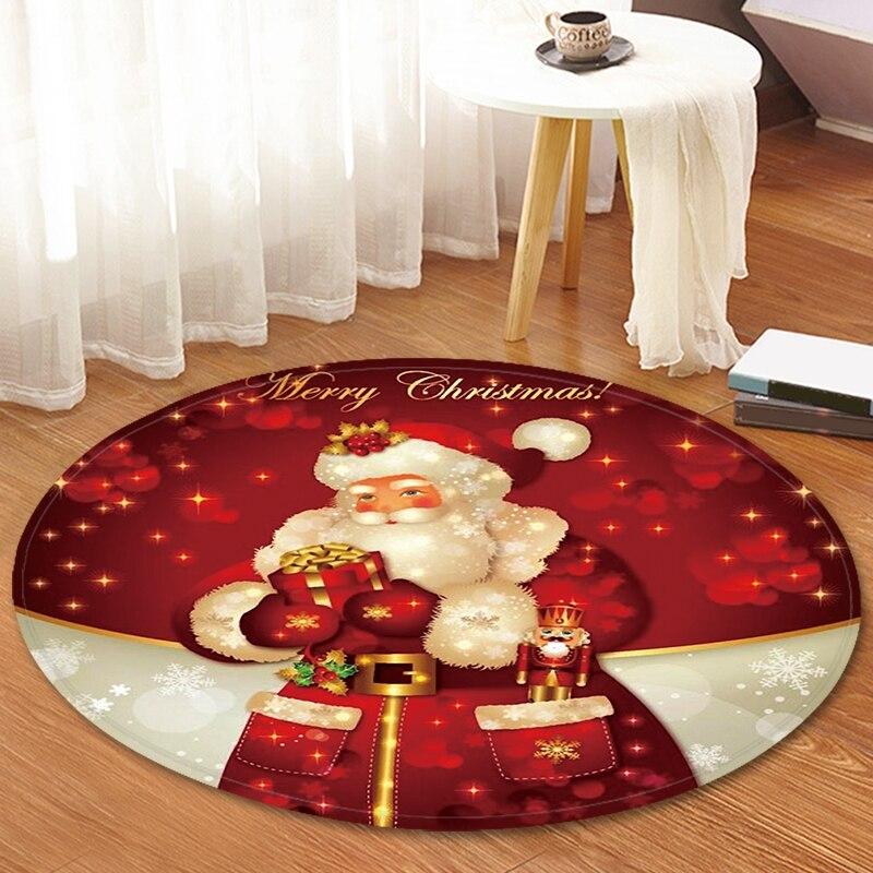 Série de noël bande dessinée tapis rond Hall tapis doux flanelle anti-dérapant imperméable maison paillasson cuisine tapis vacances décor à la maison